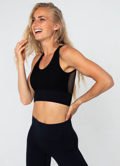 Bolt Seamless Black Sports Bra - Athlete Body
