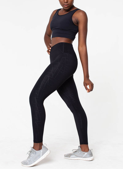 Diamond Seamless Black Leggings - Athlete Body