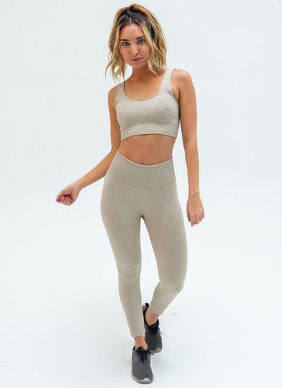 Flex Seamless Khaki Yoga Set Athlete Body