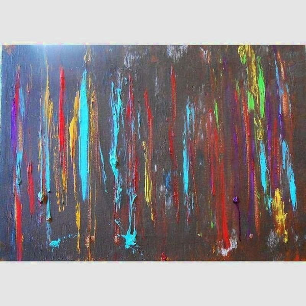 Abstracted Rain | Mix Medium on Wood | Size: 10X20 | No Frame