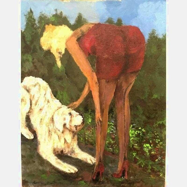 Blonde with Dog Oil on Canvas | Size: 24X18 | No frame
