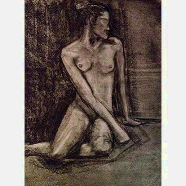 Frontal Nude | Graphite on Paper | Size: 24x20 | No Frame