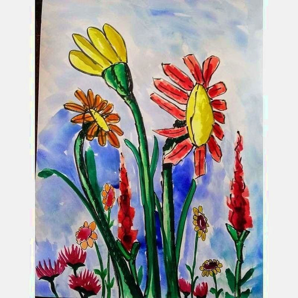 Grouped Floral | Mix Medium on Paper | Size: 24X18 | No Frame