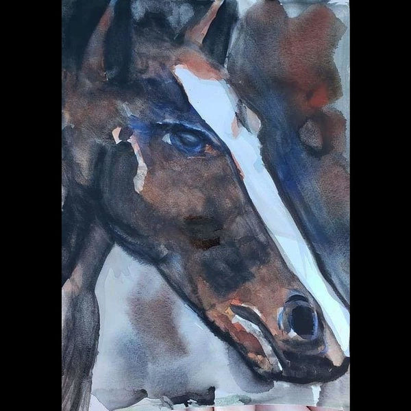 Horse Watercolor on Paper Size: 15x12 No Frame