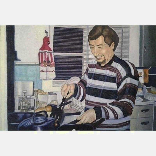 In the Kitchen | Oil on Canvas | Size: 30X40 | No Frame