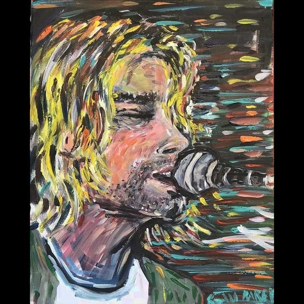 Kurt Cobain by Ryan Karey Acrylic on Canvas Size: 24x20 Unframed