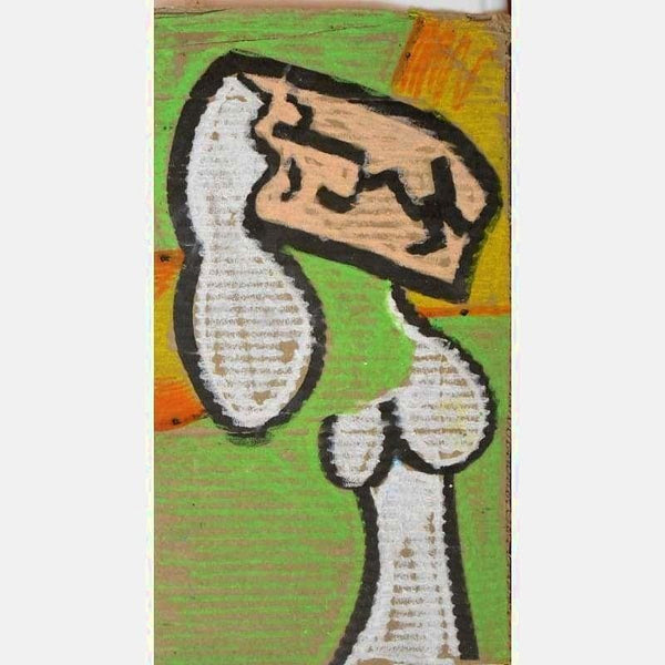 Lady in White | Oil Pastel on cardboard | Size: 13.5x7.5 | No Frame