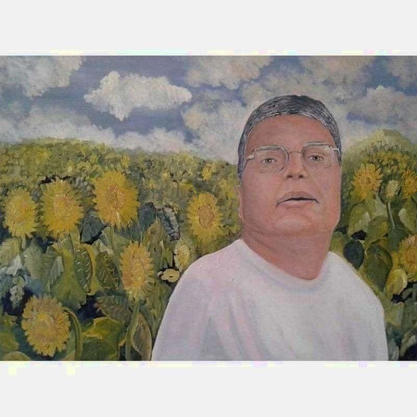 Man and His Sunflowers | Oil on Canvas | Size: 30X40 | No Frame