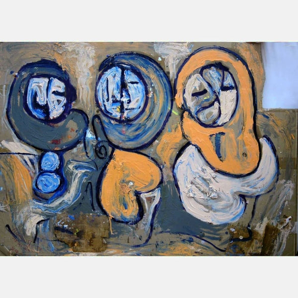 3 Faces | Mix Medium on Cardboard | Size 36x48 | No Frame