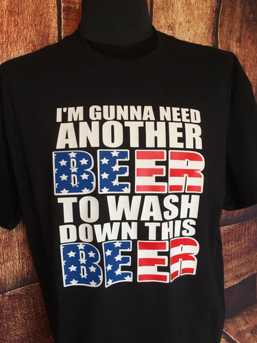 Patriotic beer drinking t shirt
