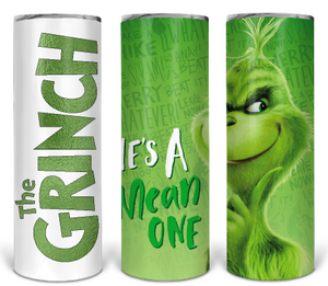 Grinch he's a mean one sublimation tumbler