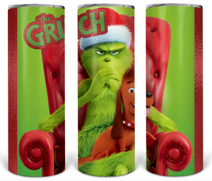 Grinch and Max custom Christmas sublimation tumbler
