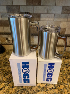 20 oz 16 oz beer/coffee mug, stainless steel, sliding close lid, hot or cold liquids
