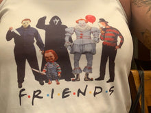Load image into Gallery viewer, Friends halloween version tank top or t shirt, jason, chucky, freddy, pennywise, clown