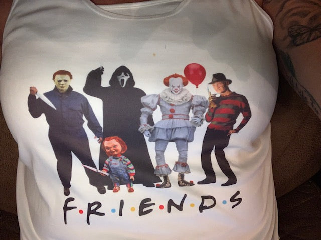 Friends halloween version tank top or t shirt, jason, chucky, freddy, pennywise, clown