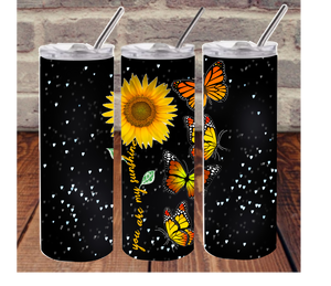 Beautiful butterfly and sunflower sublimation tumbler