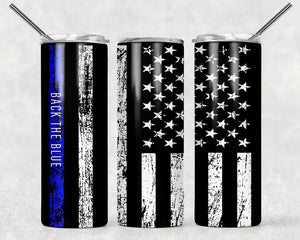 Back the blue sublimation tumbler