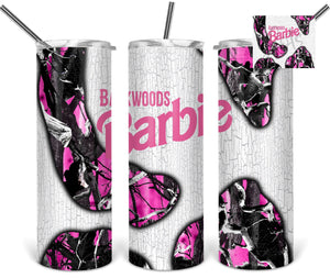 Backwoods Barbie pink camo sublimation tumbler
