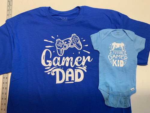 Gamer dad shirt set, great gift for a new dad, video gamer