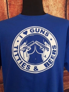 I love guns titties and beer t shirt, great gift for dad or brother/son