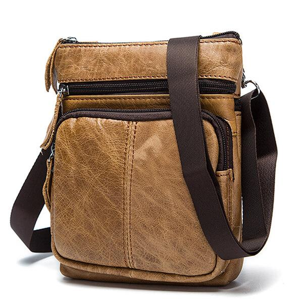 Retro Genuine Leather Travel Shoulder Bag