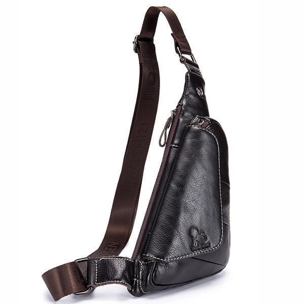 Genuine Leather Men Travel Sling Bag