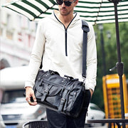 Men's Soft Leather Travel Duffle Bag