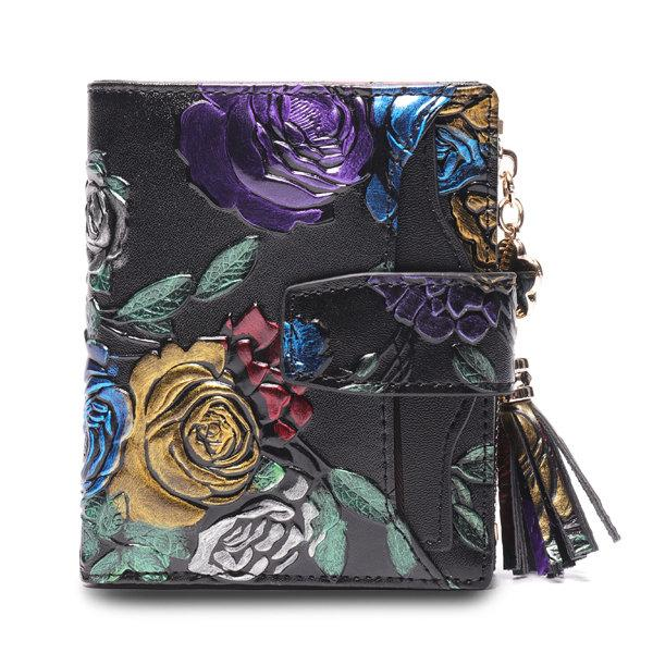 Pierrebuy _ Brenice BRENICE Vintage 11 Card-slots Embossed Casual Floral Coin Purse Wallet For Women 115232_designer bags