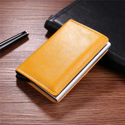 Metal Men Card Holder RFID Aluminium Alloy PU Leather Wallet Antitheft Automatic Pop Up Card Case 115236