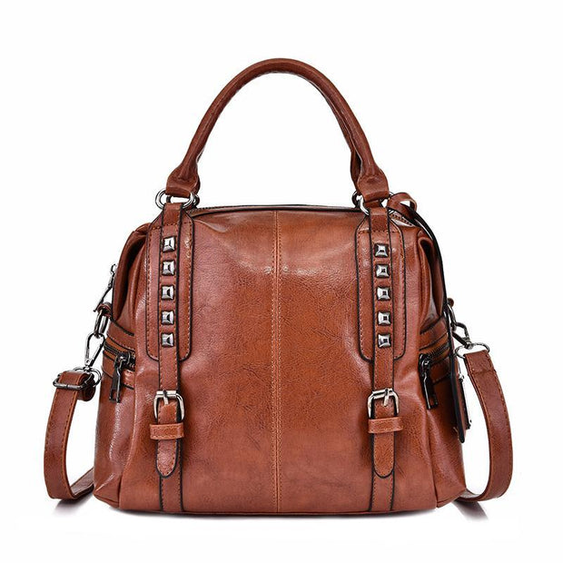 Pierrebuy _ Fashion Retro Bag  Soft PU Leather Women Tote Lady Casual Shoulder Bag 115347_designer bags