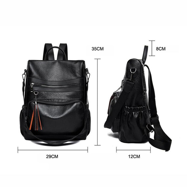 Women Soft Leather Backpack, Large Capacity Anti-theft Bag Shoulder Bag