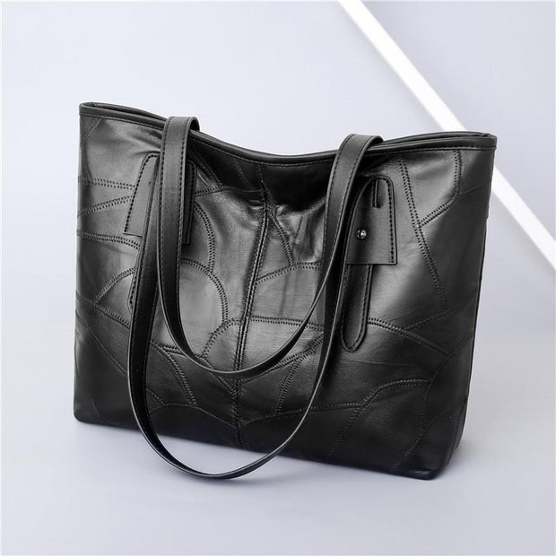 Women Black Leather Large Capacity Tote Shoulder Bag  115643