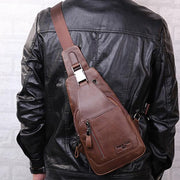 Pierrebuy _ Bullcaptain®Men Full Grain Leather Sling Bag With Earphone Hole 108503_designer bags