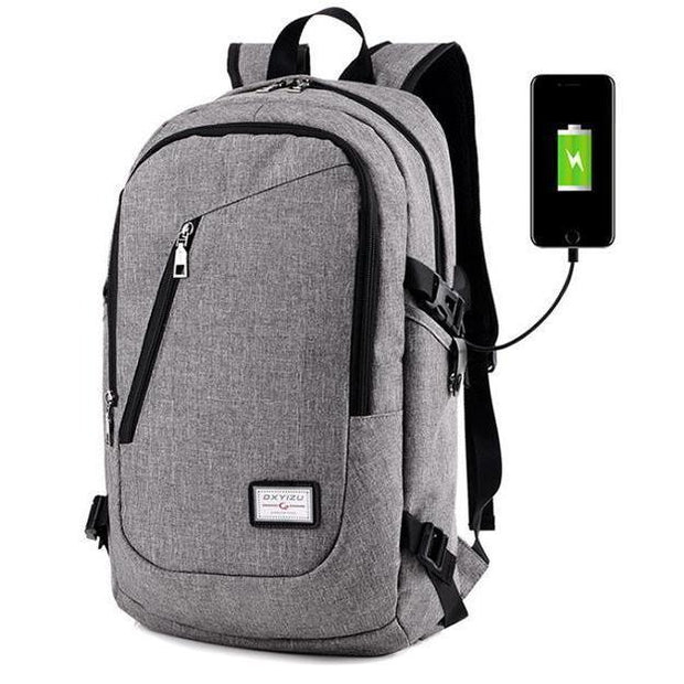 a44ee87b5628 Men Canvas Anti-theft Laptop Bag USB Charging Port Casual Business Backpack  108478