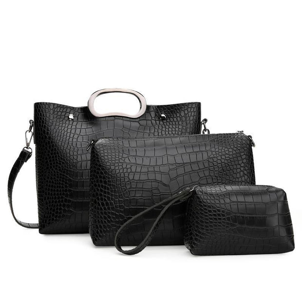 Large Capacity Crocodile Pattern Three-piece Set Handbag