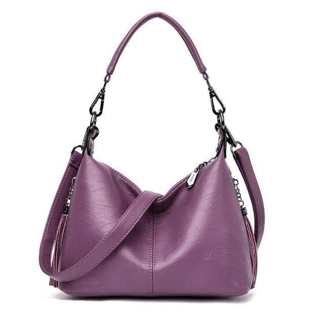 Casual Solid Daily Tassel Handbag Shoulder Bag