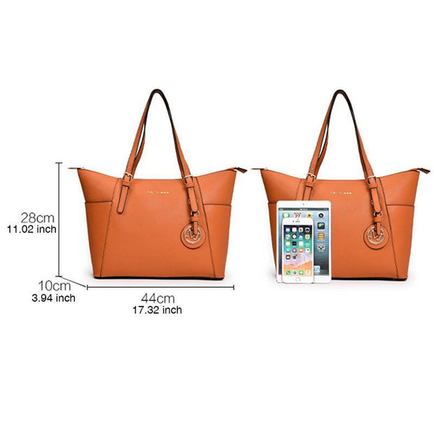 Women Large Capacity Plain Design Tote Bag