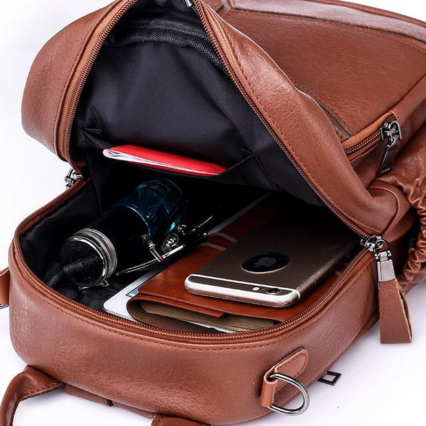 Solid Stylish Multi-function Daily Backpack Shoulder Bag
