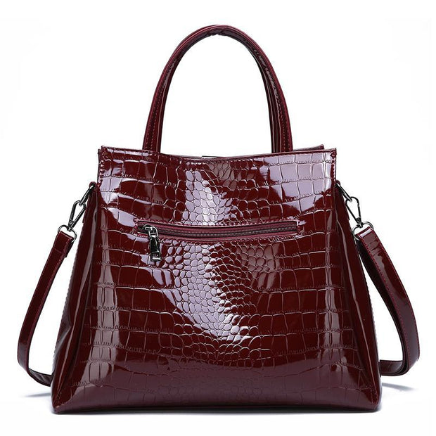 Two-piece Set Crocodile Print Tote Bag Handbag