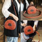 female small round bag leather handbag fashion wild shoulder slung 130680