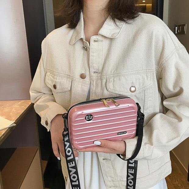 Personality box bag girl  spring  texture slung shoulder mini bag  130681