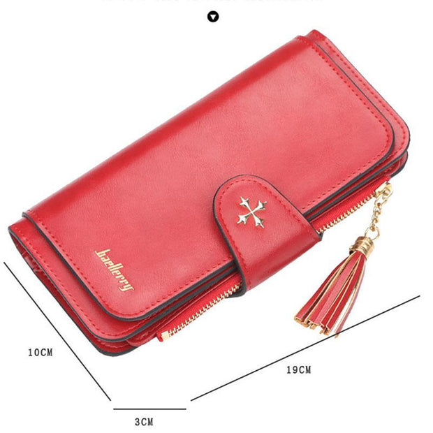 Tassel Design Buckle Large Capacity Long Wallet