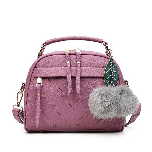 Women's Retro Pendant Leather Shoulder Bag