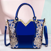Women Embroidered Bright Leather Shoulder Bag