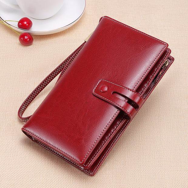 Women's Long Zipper Multi-card Leather Wallet