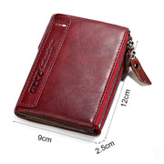 Women Double Zipper Real Leather Wallet