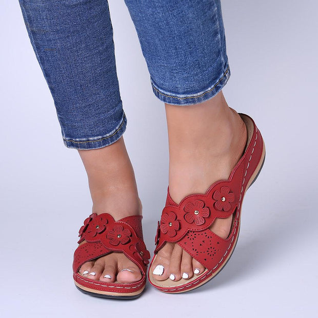 Women's Flower Cross Peep Toe Hollow Out Casual Beach Sandals Slippers(Any 2 get 10% off by code: BUY2)