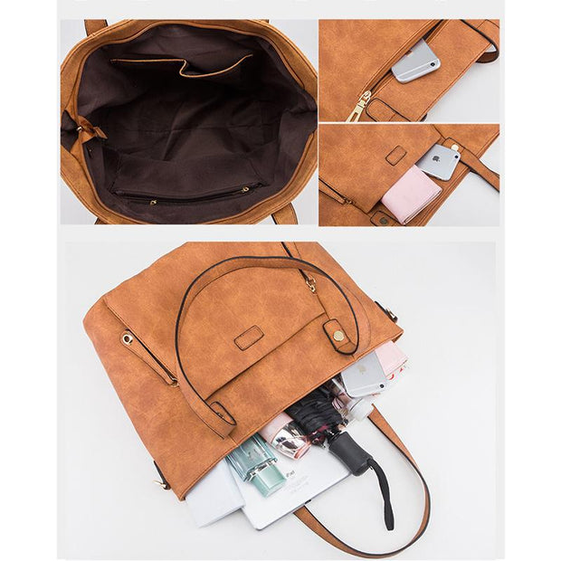 Classic Leather Large Capacity Shoulder Handbag