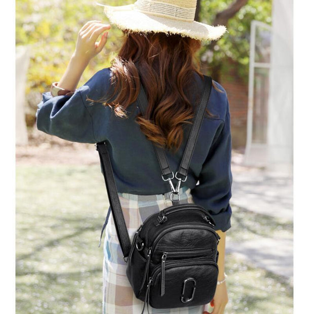 135114 New small backpack fashion soft leather Korean version of the small fresh shoulders