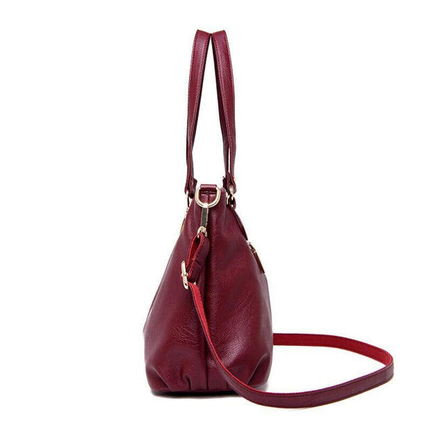 135128 New ladies leather handbag large capacity shoulder Messenger bag